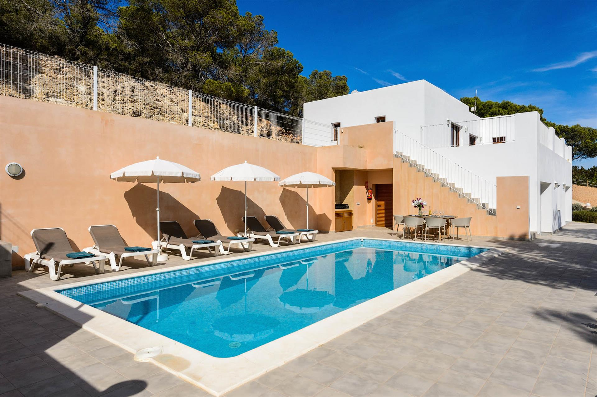 Blue sky, Villa in Es Cubells, Ibiza, Spain  with private pool for 6 persons...