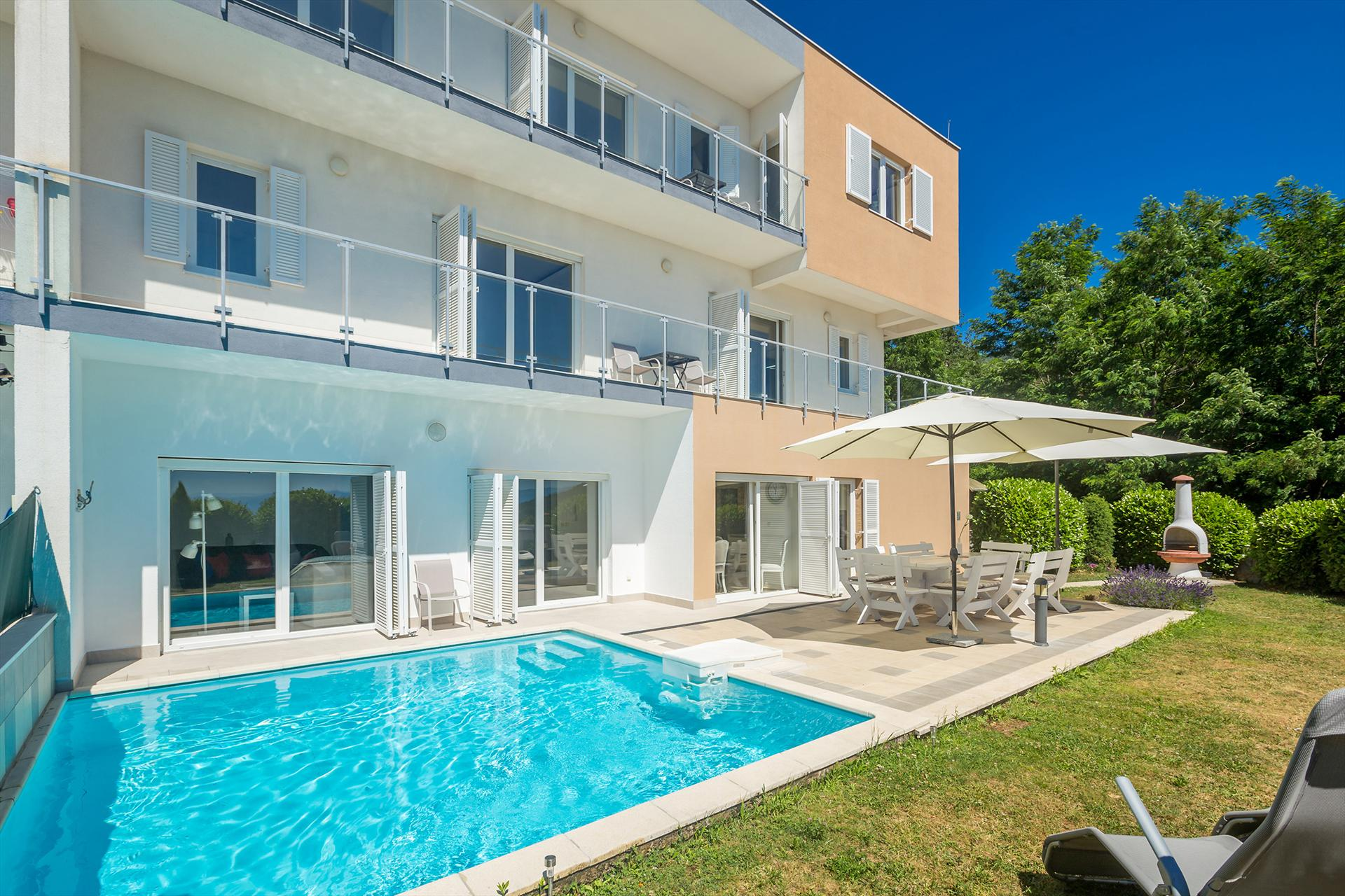 Luxurious and modern villa - private pool, sea view, fenced garden,Holiday home in Poljane, Kvarner, Croatia  with private pool for 10 persons...