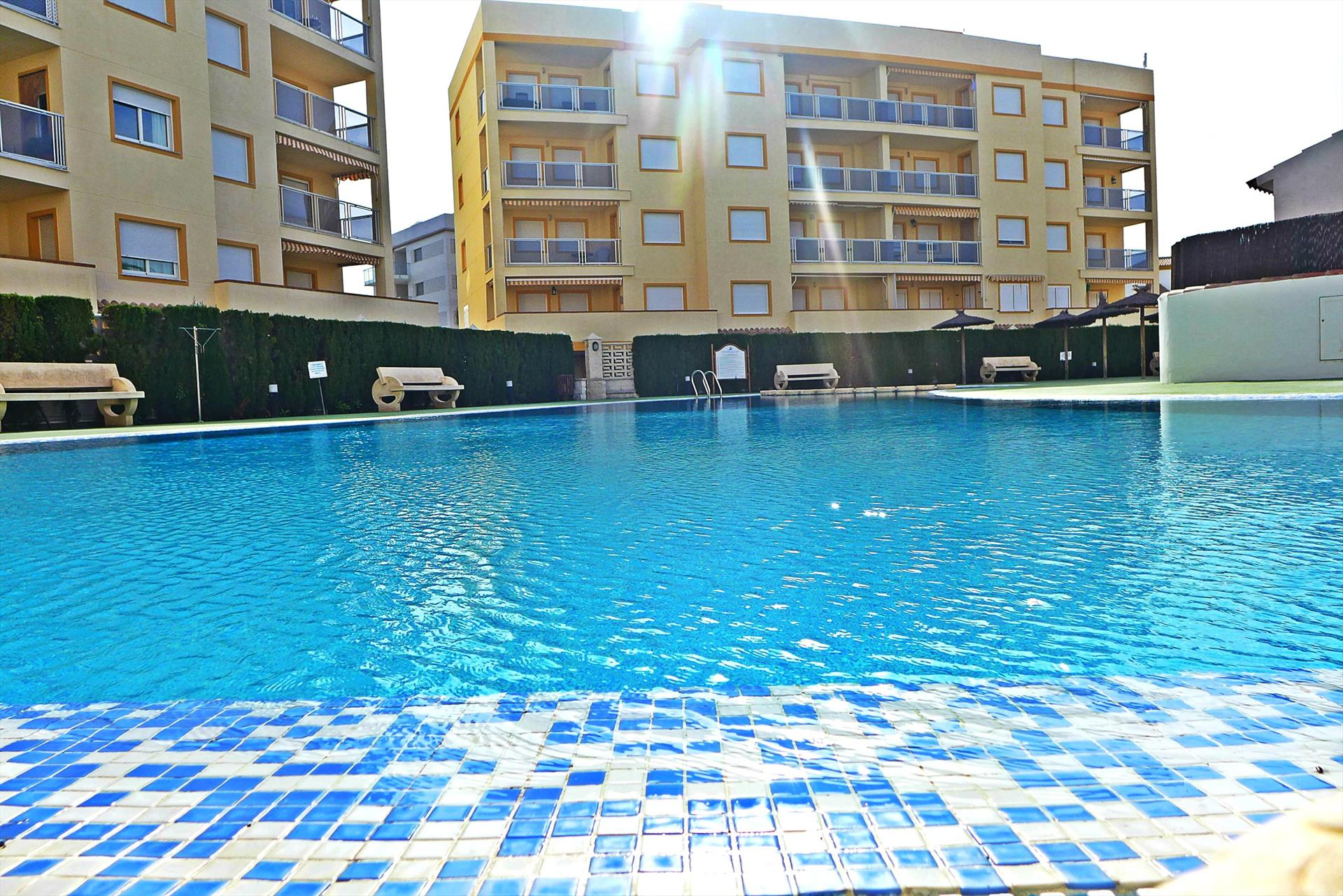 AP450, Beautiful and cheerful apartment  with communal pool in Oliva, on the Costa Blanca, Spain for 6 persons.....