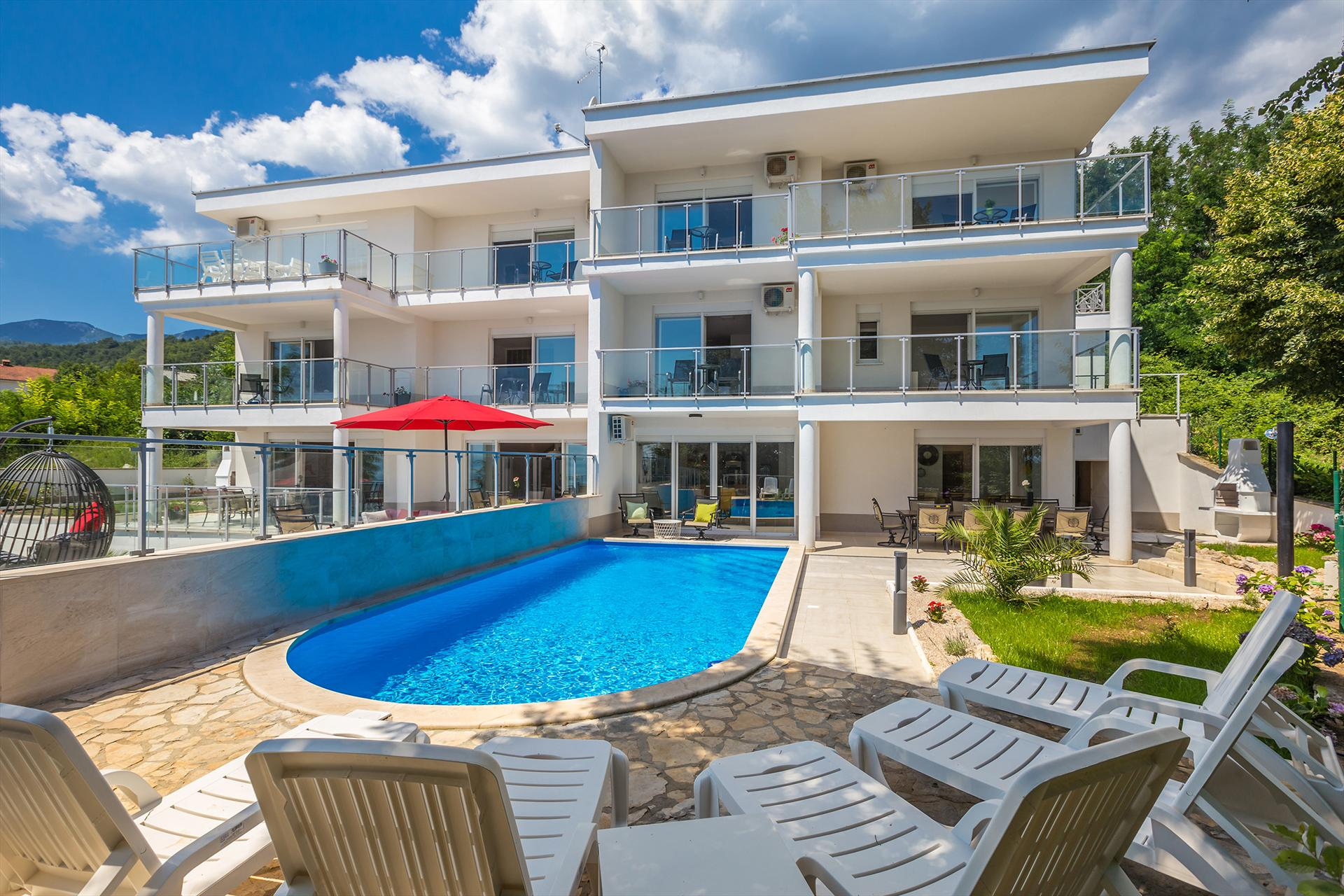 Luxurious and modern villa - private pool, sea view, fenced garden,Beautiful and comfortable holiday home in Poljane, Kvarner, Croatia  with private pool for 10 persons...
