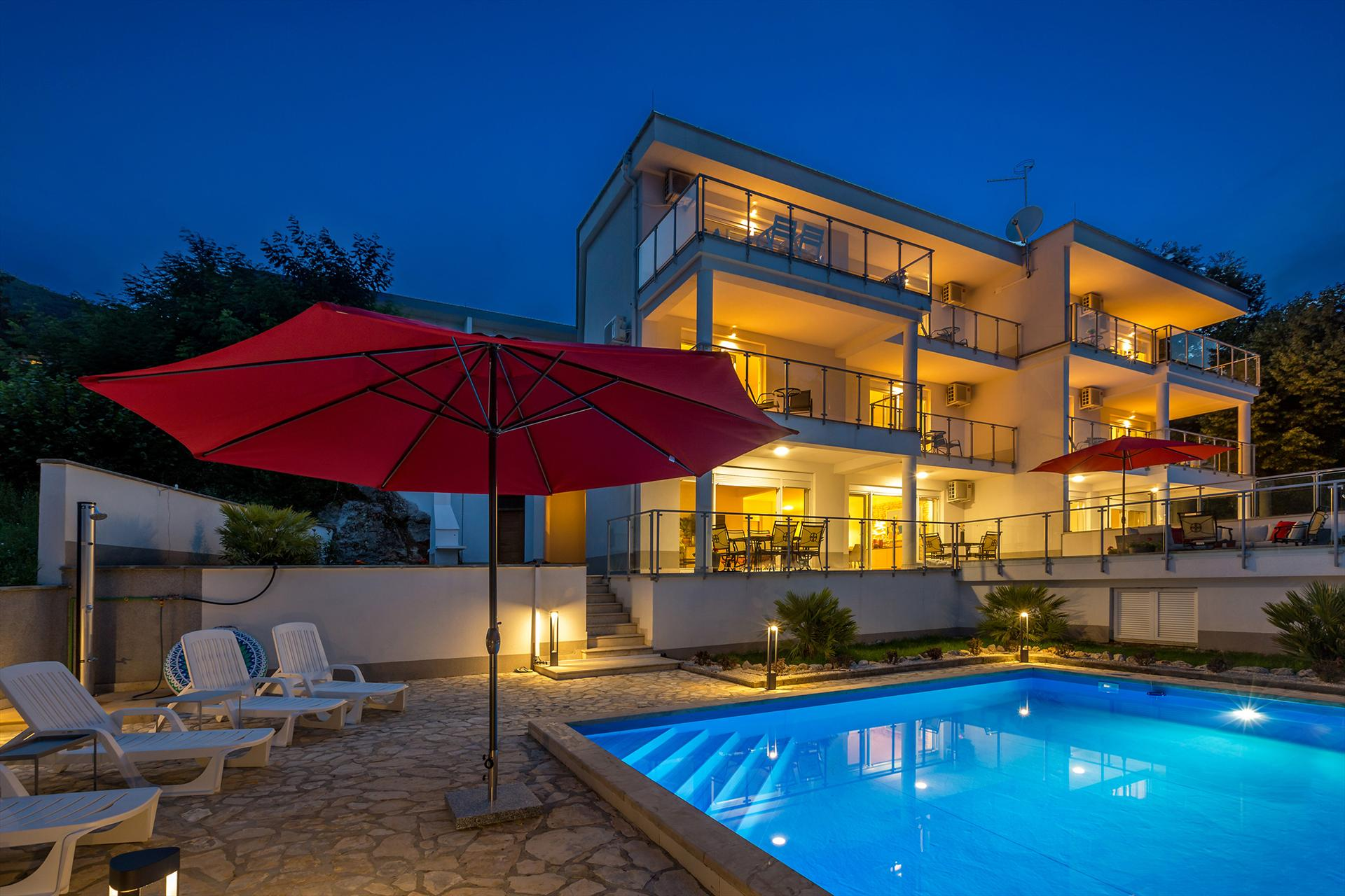 Luxurious and modern villa - private pool, sea view, fenced garden,Beautiful and comfortable holiday home  with private pool in Poljane, Kvarner, Croatia for 10 persons...