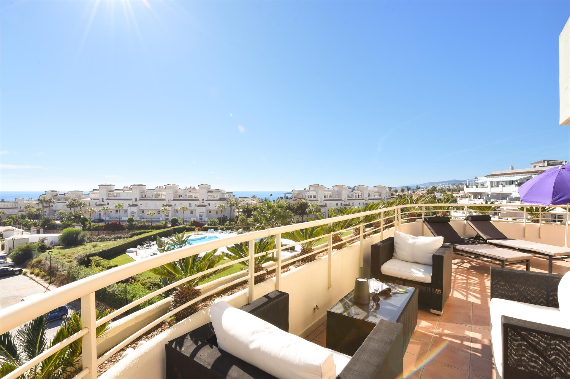 Myramar Penthouse 528, Modern and comfortable apartment  with communal pool in Mijas costa, Andalusia, Spain for 2 persons.....