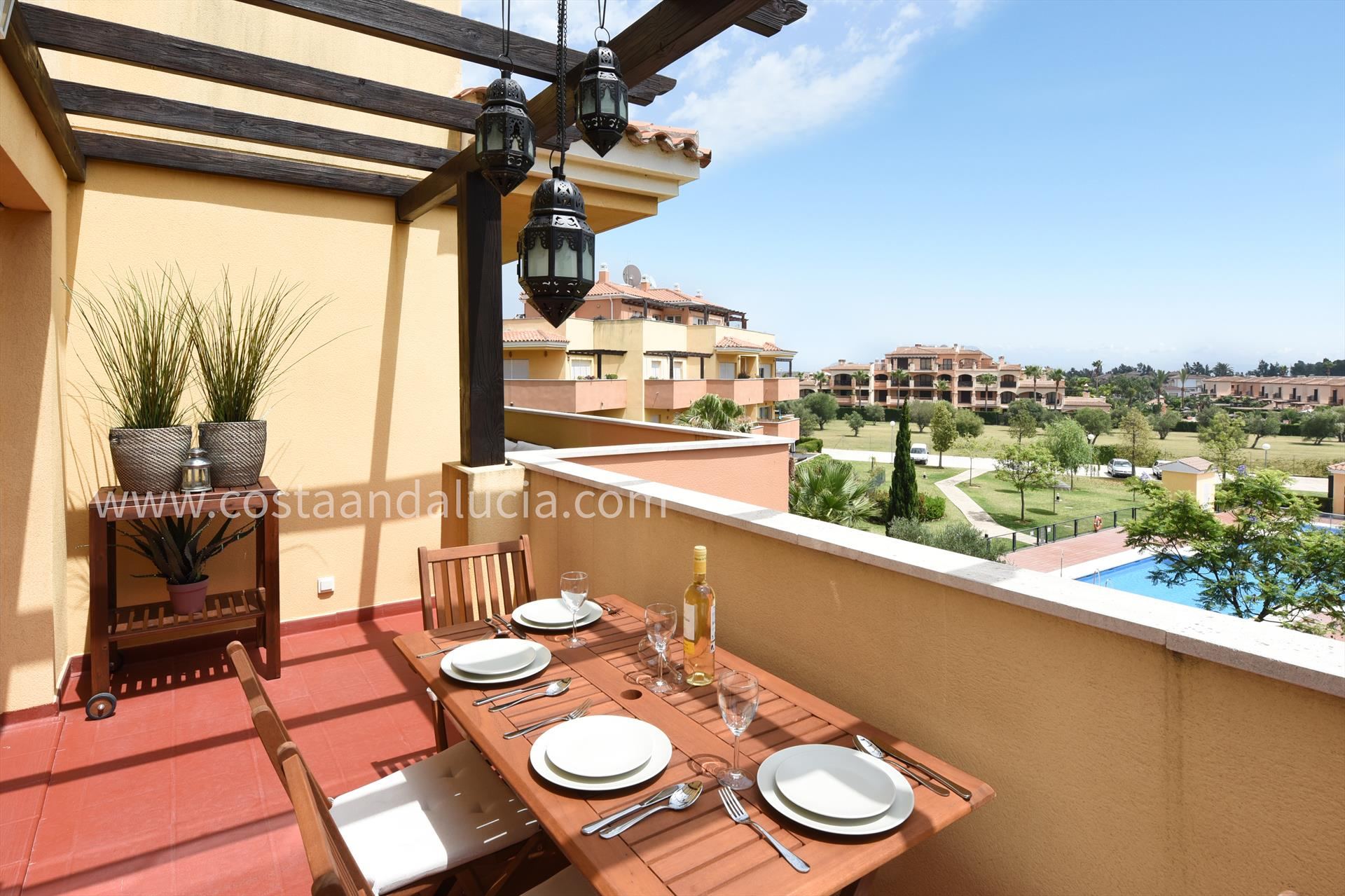 Prados del Golf, Modern and comfortable apartment  with communal pool in Mijas costa, Andalusia, Spain for 4 persons.....