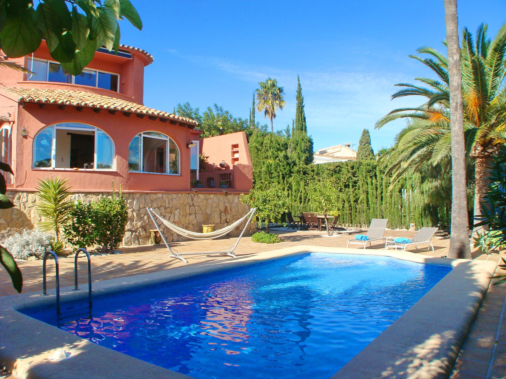 Villa Rosa, Large and comfortable villa  with private pool in Moraira, on the Costa Blanca, Spain for 8 persons.....