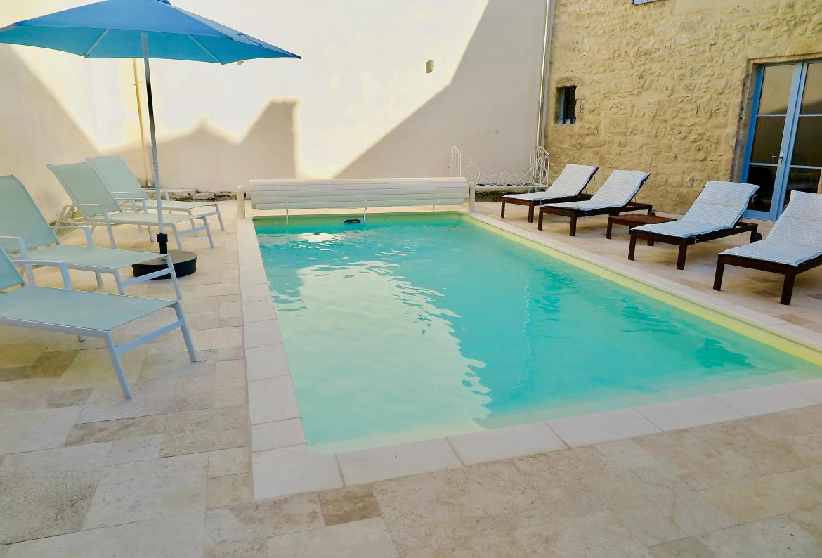 Maison chateau courtyard, Large and comfortable house  with private pool in St Genies De Fontedit, Languedoc-Roussillon, France for 14 persons...