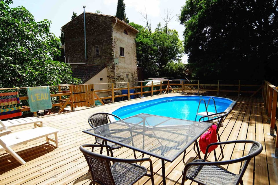La mouline, Rustic and comfortable apartment  with private pool in Autignac, Gard, France for 4 persons...