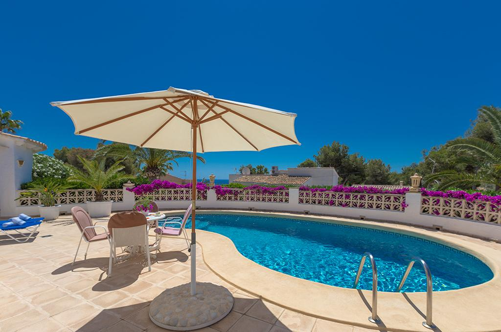 Tiffany 4, Villa in Moraira, on the Costa Blanca, Spain with private pool for 4 persons. The villa is situated in a wooded and residential.....