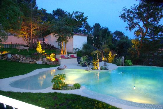 TEOLUNA casa con piscina en forma de playa dispone de un gran jardin y terrazas situada en Begur Costa Brava, Villa in Begur, on the Costa Brava, Spain  with private pool for 12 persons.....